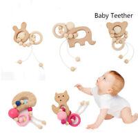 Mordedor Montessori pulseras Los juguetes de madera Cartoon Animal sonajeros