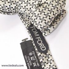 100% new Tom Ford Bow Tie Black Silver Cream Pre-Tied Designer Bowtie 160792