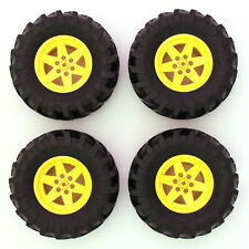 Lego Technic Set of 4 Large Yellow Wheels Tyres Tires Big Massive 107x44mm - NEW