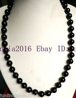 Natural 10mm Black Agate Onyx Gemstone Round Necklace 18'' AAA+++