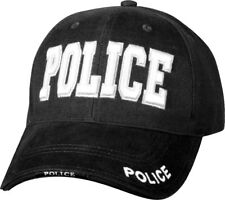 Black Deluxe Police Low Profile Baseball Hat Cap