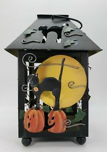 Kathy Hatch Metal Halloween Lantern Candle Holder - Pumpkins and Cats