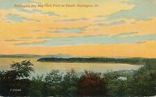 BURLINGTON BAY AND ROCK POINT AT SUNSET, BURLINGTON, VT. VERMONT.