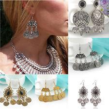 Chic Exotic Vintage Tibetan Charm Chandelier Coin Drop Statement Dangle Earrings