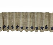 New Primitive Country Farmhouse Gray NAVY BLUE STAR APPLIQUE Curtain Valance