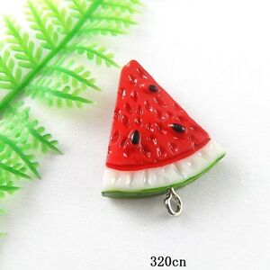 10x Colorful Resin Fruit Red Watermelon Pendant Findings Craft Charms 51338