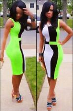 *NEW* CHIC COLOUR BLOCK PANEL FRONT GREEN BODYCON DRESS *SMALL*
