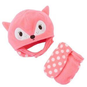 Jumping Beans Baby Girl 6-18 Months Pink Deer Fleece Hat & Mittens Set NEW