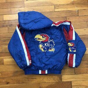 vtg 90s Kansas Jayhawks KU Starter Jacket youth boy's LARGE hood coat 1e316p
