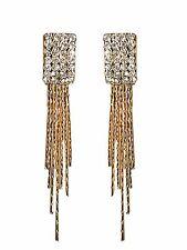 Gold White Rhinestones Tassel Medium Dangle Drop Shiny Sparkle Earrings E1209