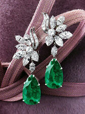 925 Sterling Silver Cz White Marquise Green Pear Flower Style Dangle Earrings Nw