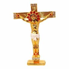 Cross Gold Plated Cross Combo Of 2 With Stones Christian Crucifix For Dashboard