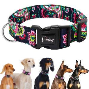 Nylon Floral Adjustable Dog Collar for Small Large Dogs Pitbull Labrador Bulldog