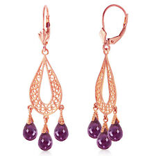 3.75 Carat 14k Solid Gold Chandelier Earrings Natural Garnet