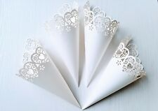 Laser Cut Heart Wedding Confetti Cones in White | Pack of 10