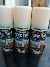 3 x 200ml Flexible PAINT SPRAY IVORY FABRIC Leather Vinyl Textile Clothes,