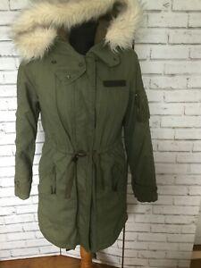 TOPSHOP WOMEN GREEN FAUX FUR LINED PARKA PARKER HOODED COAT JACKET UK 8