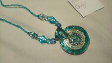 Silver tone turquoise enamel sparkly rhinestone statement pendant glass beads