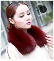 Real Fox Fur Collar Women Scarf Shawl Stole Wrap Furry Neck Warmer DIY your coat