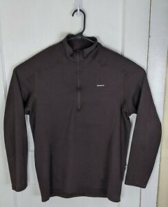 Men's Patagonia Capilene 3 L/S 1/4 Zip Pullover Brown Men L Polartec Layer Poly