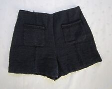 ZARA Women Front Patch Pockets High Waist Dark Blue w/ Black Tweed Shorts Sze M