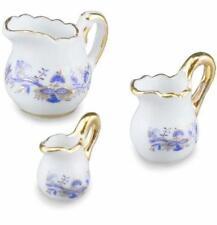 DOLLHOUSE Serving Pitcher Set 1.450/5 Reutter Porcelain Blue Onion Miniature