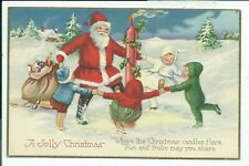 SANTA CLAUS~ with Happy~ Children Dancing~Vintage CHRISTMAS Postcard--b784