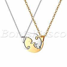 Mens Women's Unique Matching Puzzle Pendant Cute Cat Necklace Chain Couples Gift