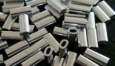 100X ALUMINIUM CRIMPS 1.6mm x 10mm for  monofilament fishing line or wire traces