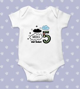 Five Weeks Old Today Baby Bodysuit   Baby Shower Gift   Cute Baby Clothes   Funn
