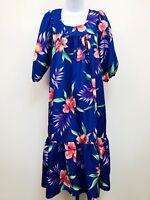 Hawaiian House Dress Vintage Muumuu Tropical Floral Smock Made Hawaii Womens L