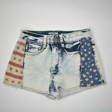 Mossimo Womens Size 1 High Rise Cut Off American Flag Denim Shorts