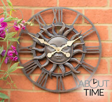 Metal Garden Outdoor Wall Clock Sun Design Finish Roman Numerals Durable