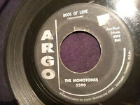 The Monotones Book of Love/You Never Loved Me US 1958 Doo-Wop Argo Label