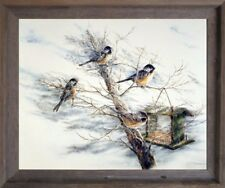 Chickadee Birds House on Tree Animal Wall Decor Barnwood Framed Picture (19x23)