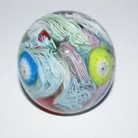 Millefiore Scramble Art Glass Paperweight with 3 Flowers