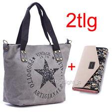 a9f1d54a6a53c Graue Handtasche Umhängetasche Tasche mit weißem Stern Druckknopf ca 23x17  cm Damentaschen