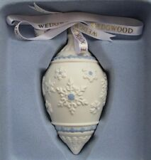 Wedgwood Blue Jasperware Christmas Snowflake Tear Drop Ornament New in Box