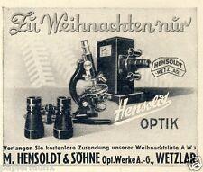 Hensoldt Wetzlar Fernglas Mikroskop Reklame von 1936 Projektor Kamera Foto Werke