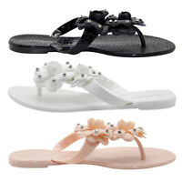 Ladies Flip Flop Toe Post Sandals Diamante Women Casual Beach Pool Shoes