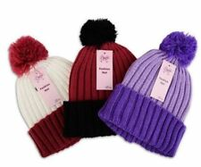 GIRLS CHUNKY RIBBED KNITTED BEANIE FLUFFY POM POM BOBBLE HAT AND GLOVES SET