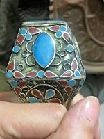 Antique Rare Handmade Metal Ottoman Seal Ring Natural Coral / Turquoise Inlaid