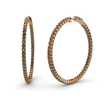 1.80mm Smoky Quartz Inside-Out Hoop Earrings 3.00 cttw in 14K Rose Gold JP:37618