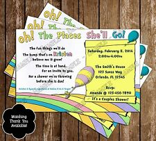 Dr Seuss - Oh, The Places You'll Go - Baby Shower Invitations - 15 Printed W/env