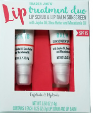 Trader Joe's Lip Treatment Duo Lip Scrub & Lip Balm Sunscreen  2 pack .25 oz ea