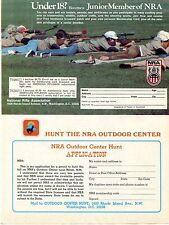 1976 Print Ad of NRA Junior Member Membership Outdoor Center Hunt Application