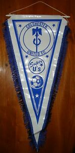 CLASSIC COLCHESTER UNITED FOOTBALL TEAM PENNANT IN GOOD USED CONDITION ~ 1980's