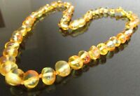 50 cm Beautiful Genuine Baltic Amber Knotted Beads Necklace, Matching Earrings