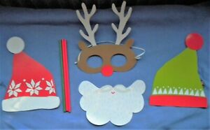 4 XMAS SELFIE PROPS: ELF & SANTA HAT & BEARD,RUDOLPH REINDEER MASK FANCY DRESS