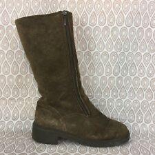Bama Lams Women's Brown Suede Double Zipper Block Heel Boots Size 7 S58